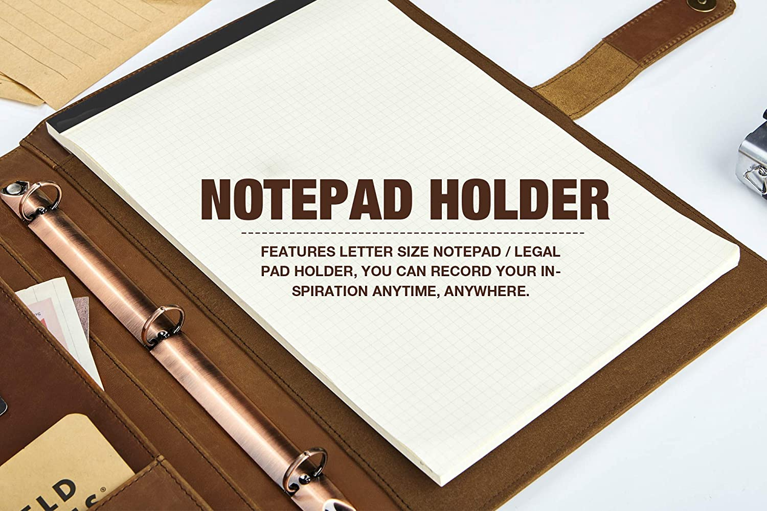 Three Ring Binder Padfolio Case Custom Business Document Folio for Letter Size Notepad//Legal Pad Vintage Leather Portfolio Free Name Engraving