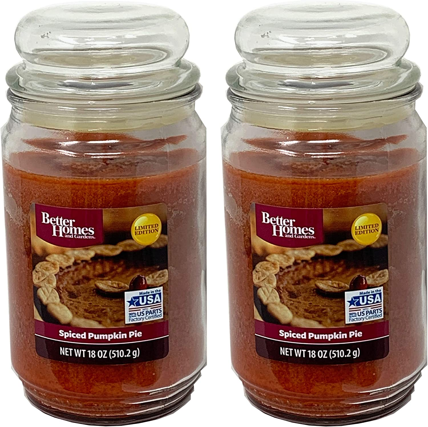 Better Homes and Gardens 18oz Scented Candle, Spice Pumpkin Pie 2-Pack