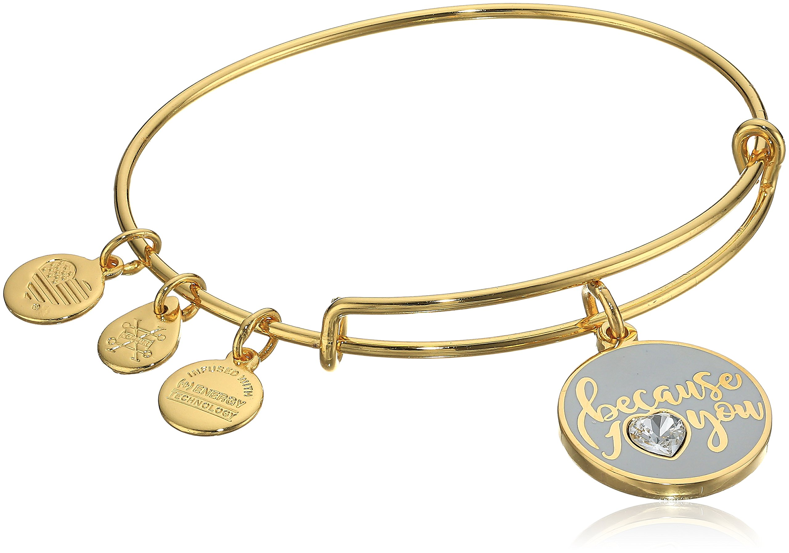 Alex and Ani Because I Love You With Swarovski Crystal Shiny Gold Bangle Bracelet