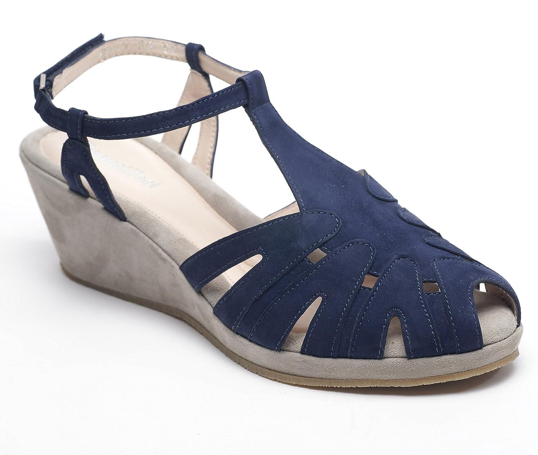 BeautiFeel Women's Candy Wedge Sandal B00GTM8VLI 41 EU/10-10.5 M US Blue/Stone Suede