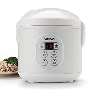 Aroma Housewares 8-Cup (Cooked)(4-Cup UNCOOKED) Digital Rice Cooker and Food Steamer (ARC-914D)