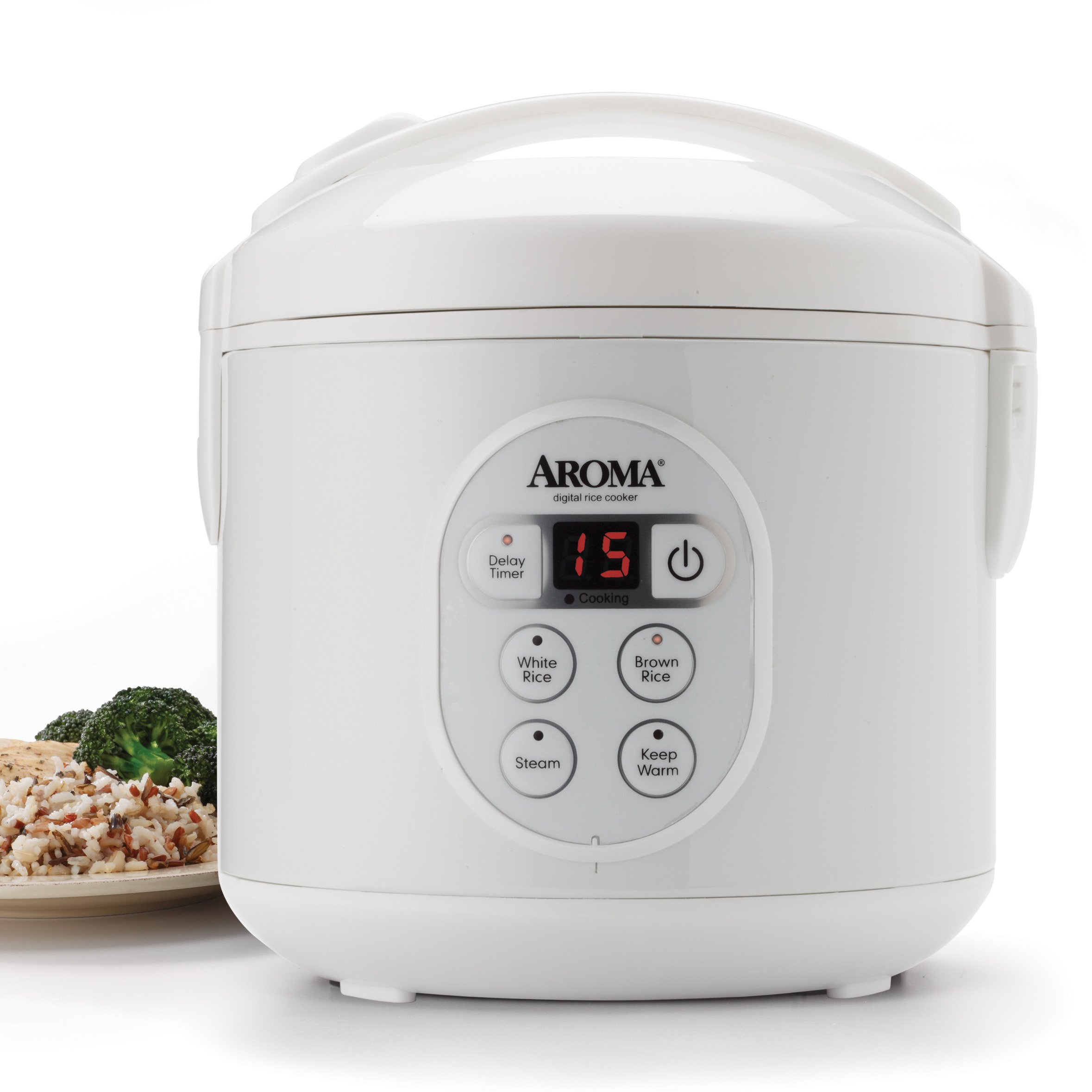 Aroma Housewares 8-Cup (Cooked) (4-Cup UNCOOKED) Digital Rice Cooker and Food Steamer (ARC-914D) by Aroma Housewares