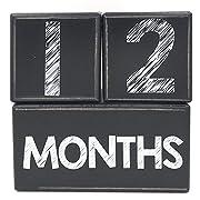 Milestone Age Blocks | Baby Photo Age Blocks | Weeks Months Years Grade | Pregnancy Countdown Sharing | Shower Registry Gift | Chalkboard Sketch Distressed Black