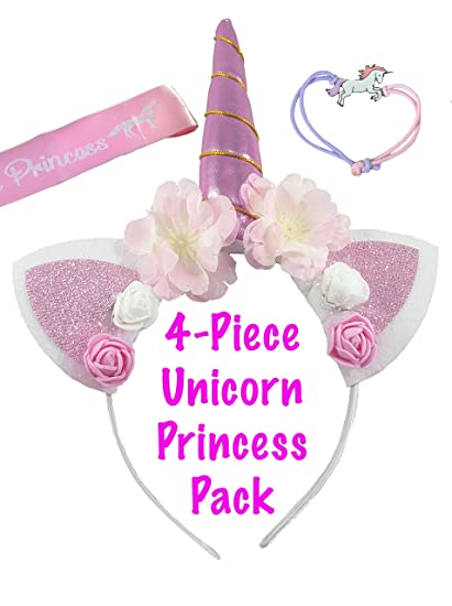 e628fd8942d Unicorn Headband for Girls – Unicorn Party Kit Includes Horn Headband with  Bracelet, Unicorn Princess