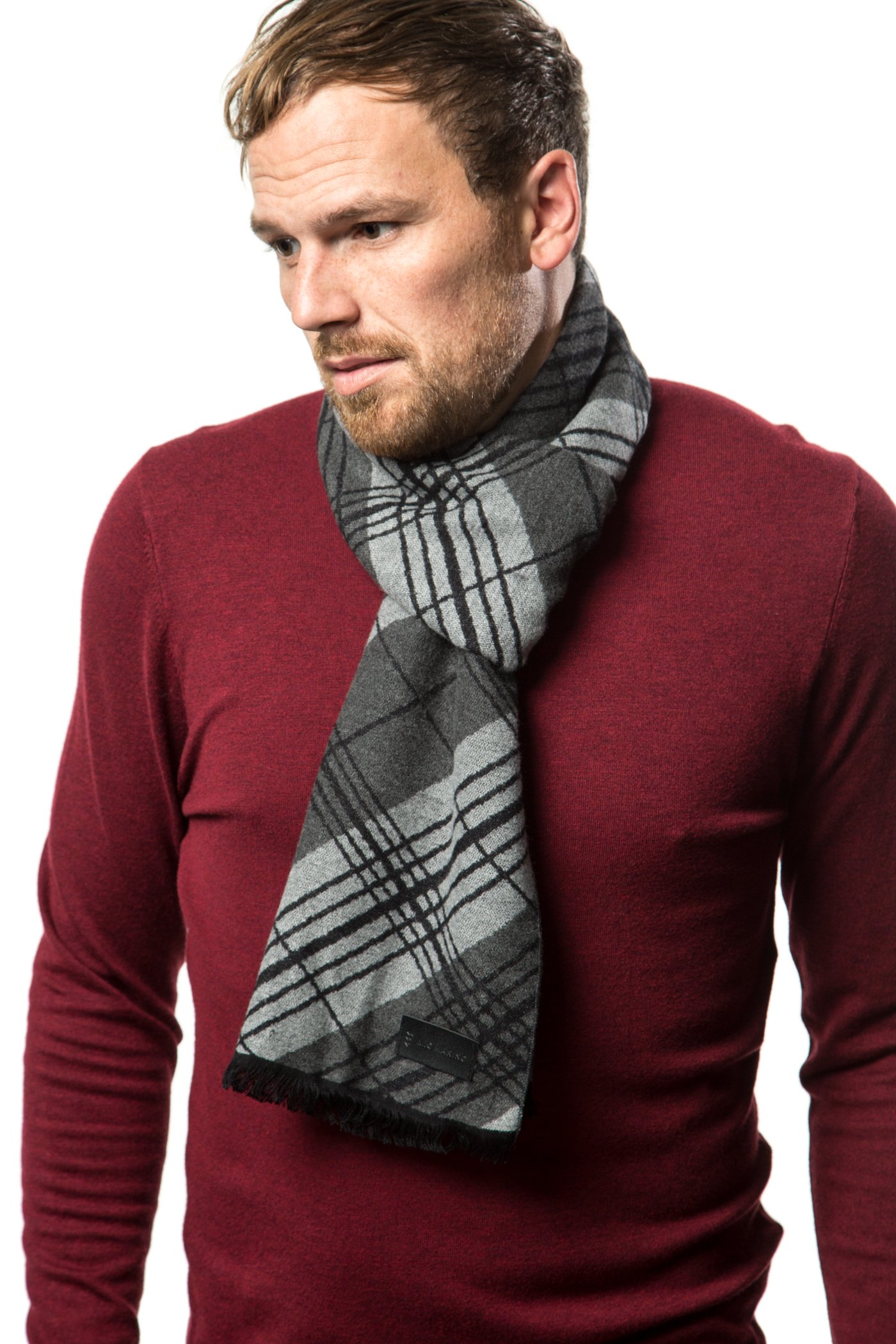 Marino's Winter Cashmere Feel Men Scarf,100% Cotton Fashion Scarves, In Elegant Gift Box - Black Gray Diagonal Plaid