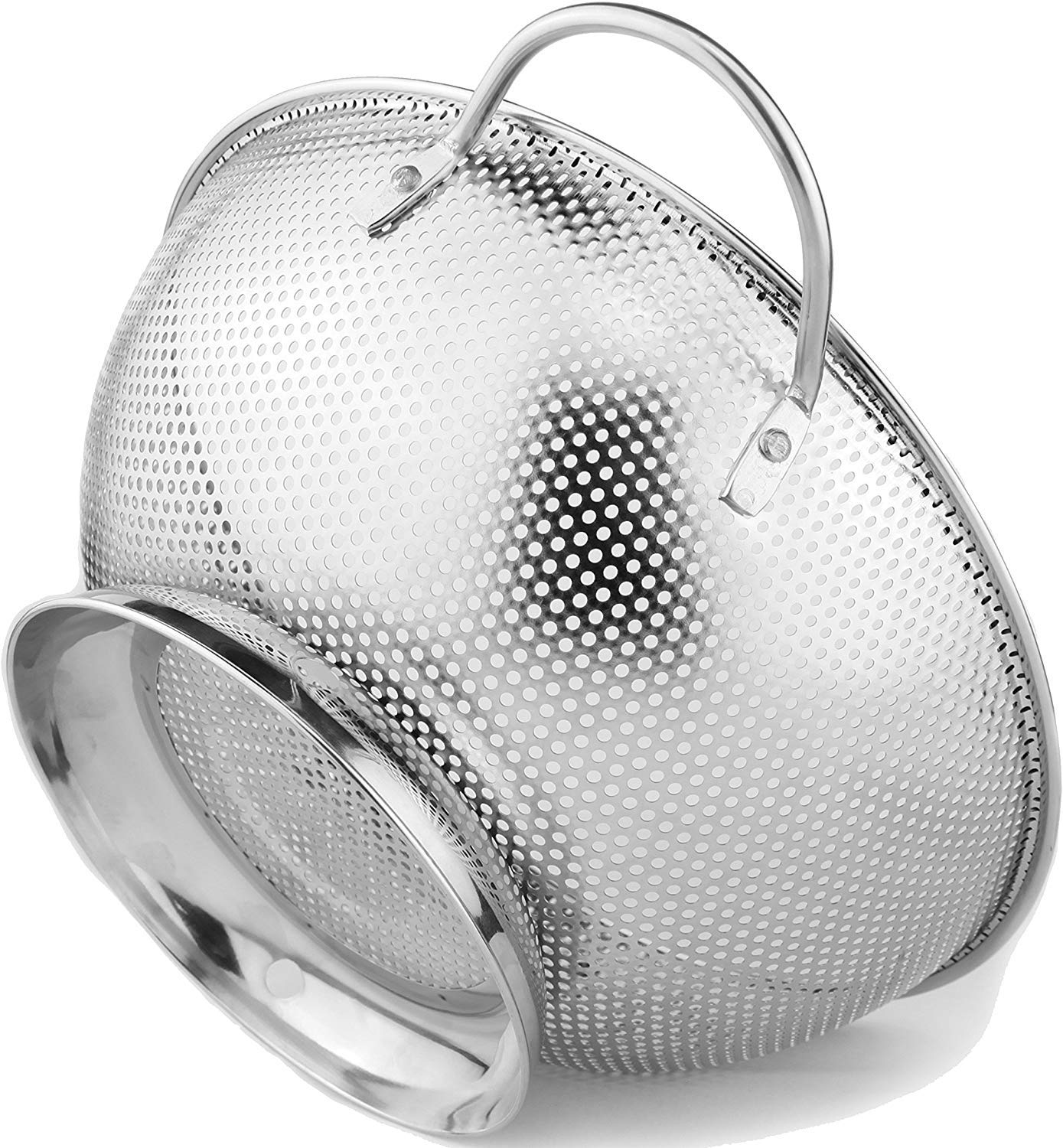 OLIYA Stainless? ?Steel? 5-Quart???? Colander:? ?Metal? ?Pasta? ?Strainer with? ?Handles? ?&? ?Base? ?-? ?Large? ?Strainer? ?Basket? ?for? ?Pasta,? ?Rice Noodles & More: Dishwasher?? Safe? 81fMJ9eoKoL
