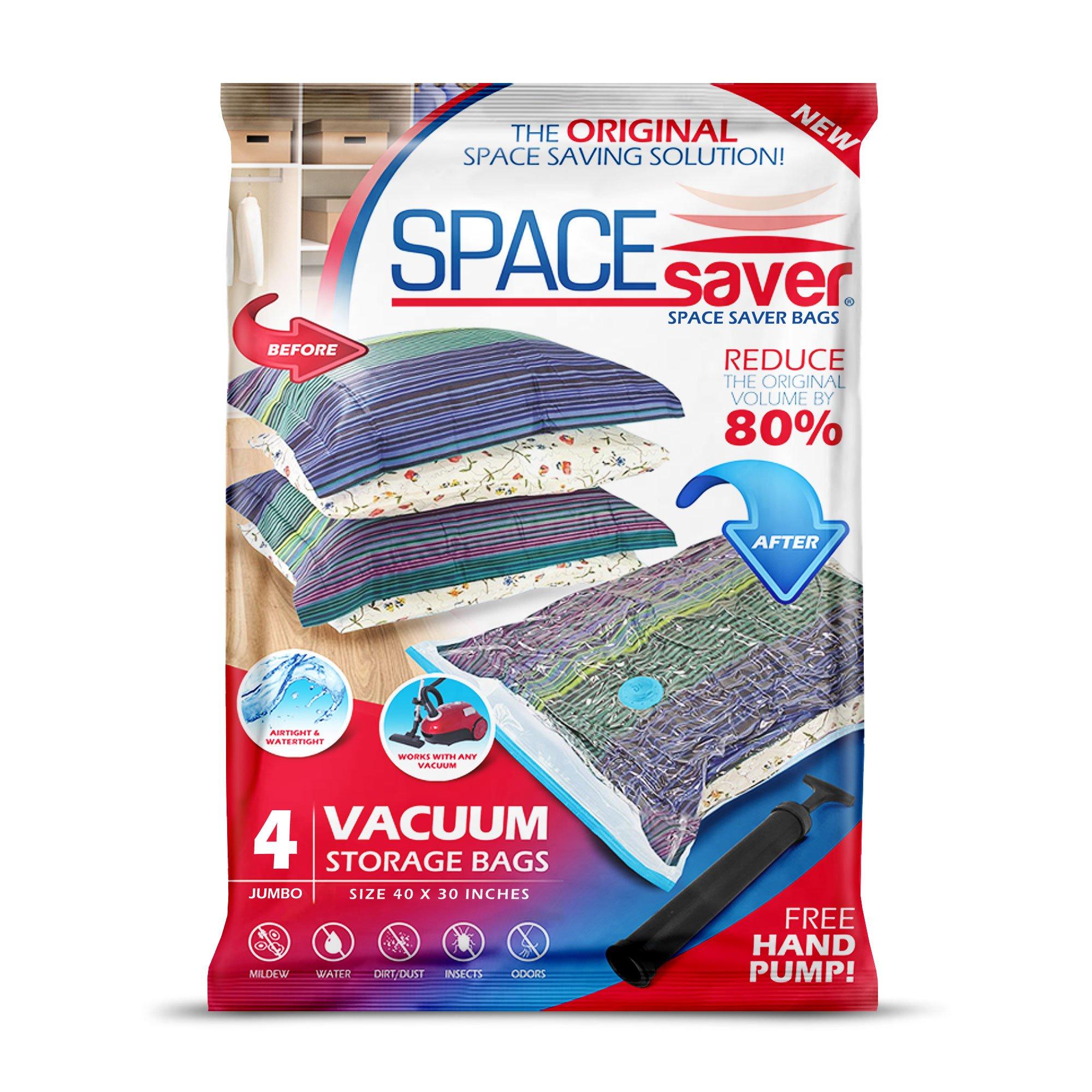 Space Saver Premium Reusable Vacuum Storage Bags (Jumbo 4 Pack), Save 80% More Storage Space. Double Zip Seal & Leak Valve, Travel Hand Pump Included