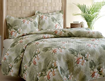 Tommy Bahama Topical Orchid Quilt Set King