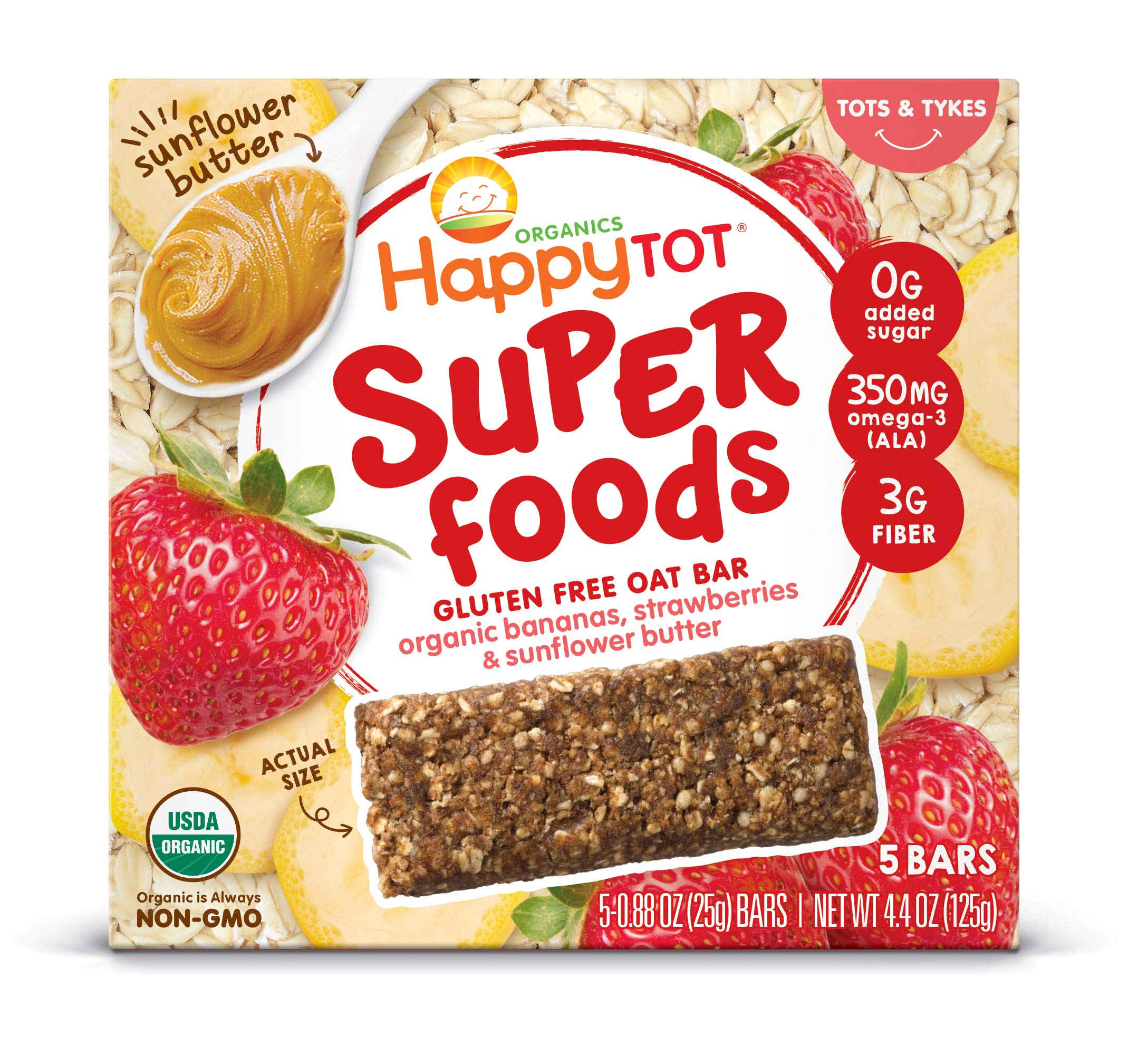 Happy Tot Superfoods Oat Bars, Bananas Strawberries & Sunflower Butter, 5 Count (Pack of 6) by Happy Tot