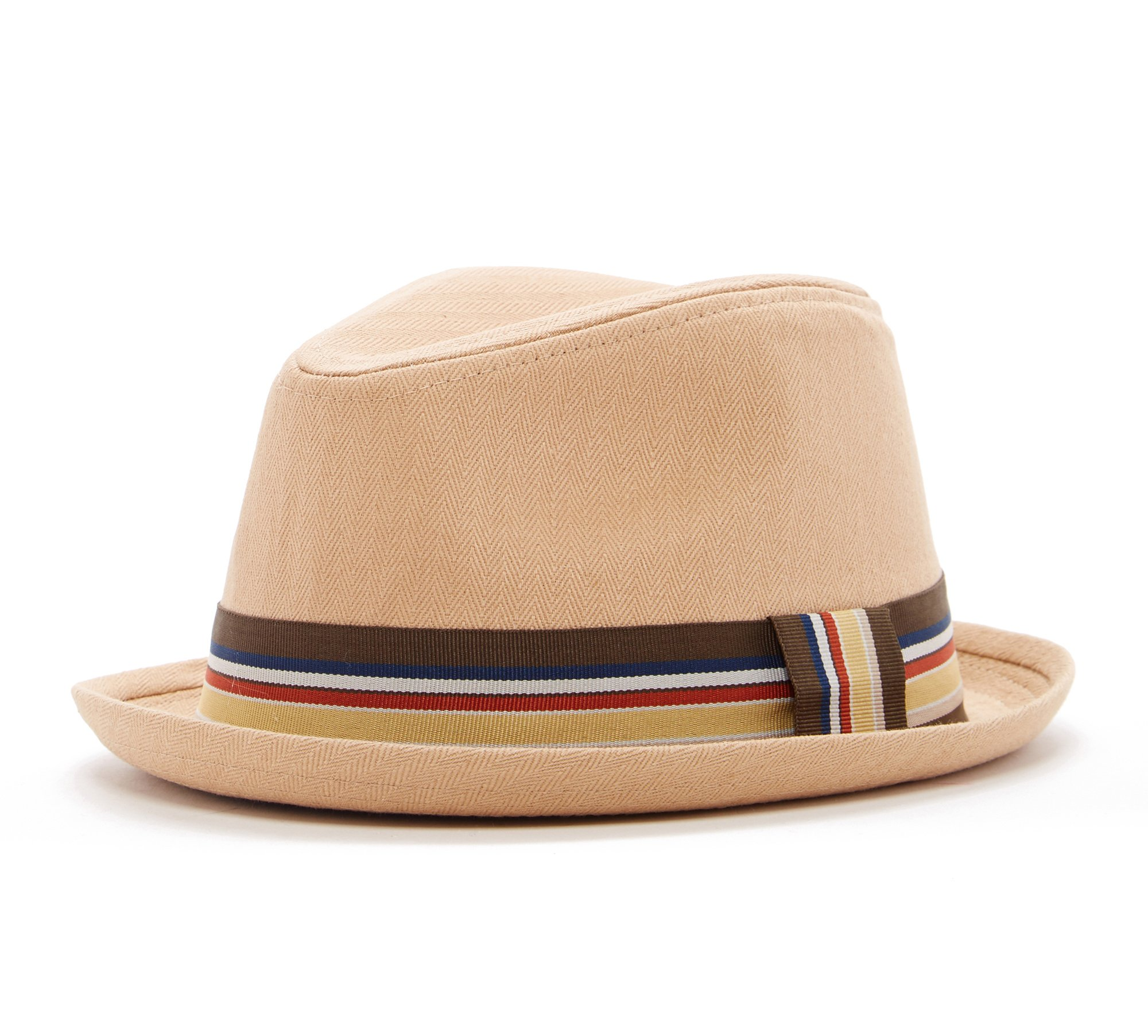 Born to Love Boy's Fedora Hat with Black Band (46 cm 6-12 Months, tan with Stripes)