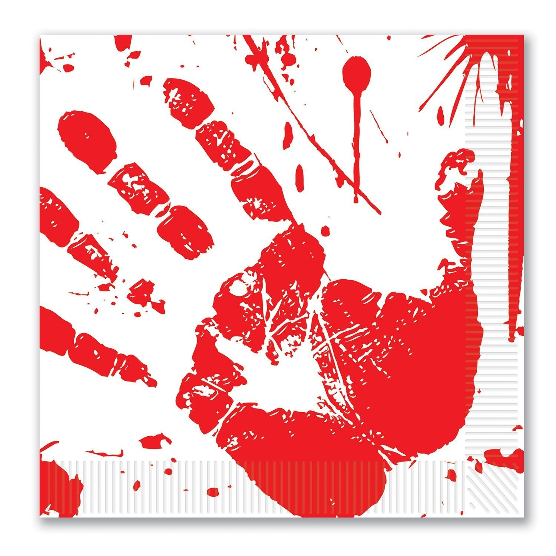 Beistle – Bloody Handprintナプキン  Red/White (3-pack) B075D962HZ