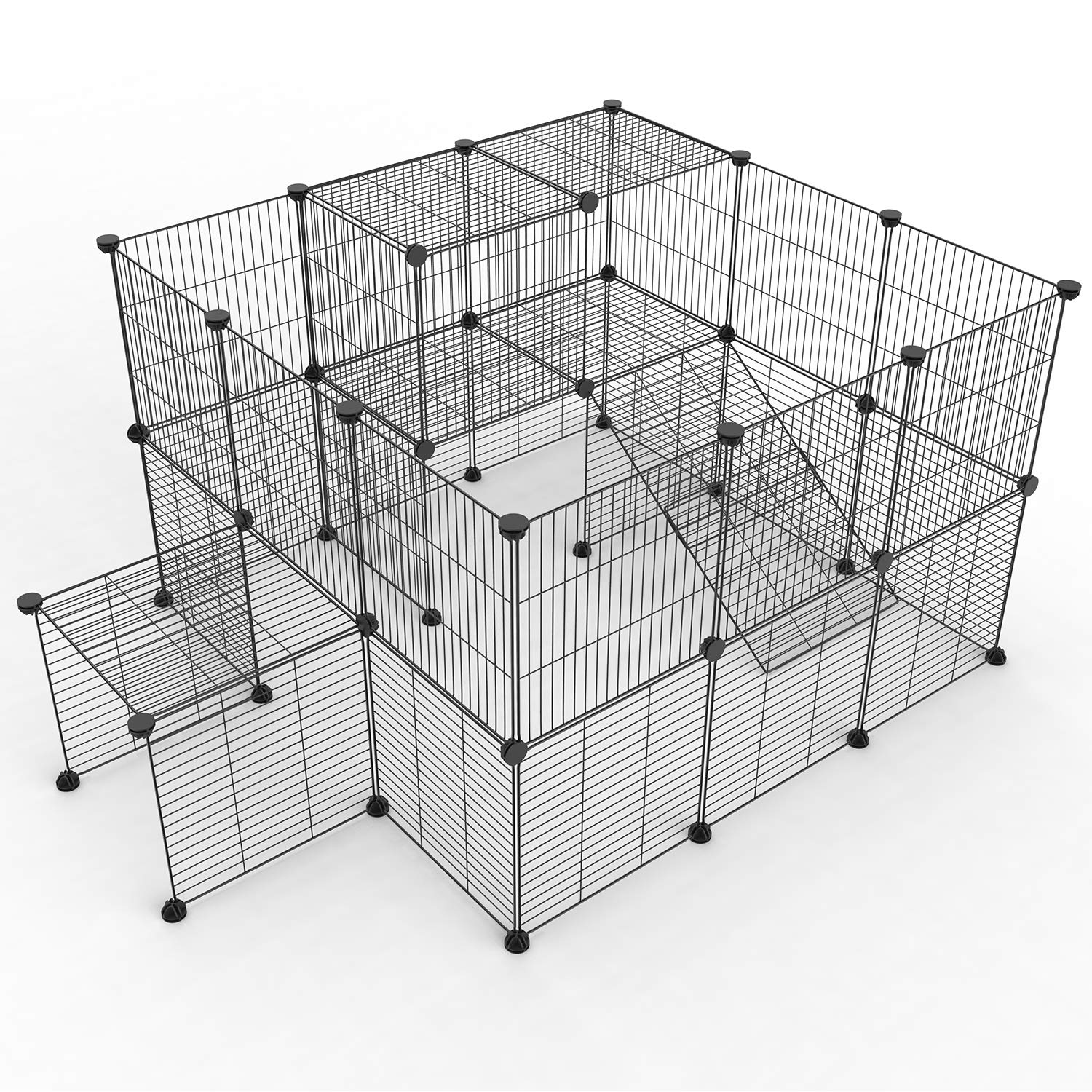 Tespo Pet Playpen, Small Animal Cage Indoor Portable Metal Wire Yard Fence for Small Animals, Guinea Pigs, Rabbits Kennel Crate Fence Tent (Black,36 Panels Upgrade) by Tespo (Image #2)