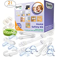 Child Safety Kit (21 Pieces). 8 Corner Protectors, 4 Plug Protectors, 2 Anti-Tip Furniture Straps, 1 Door Stopper and 6 Child Safety Locks. Full Baby Proofing Kit