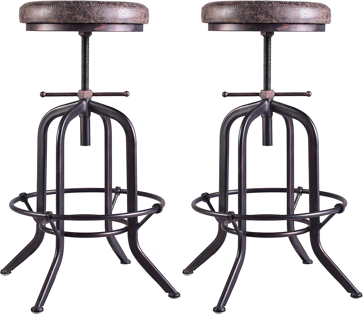 LOKKHAN Set of 2 Industrial Bar Stool-Adjustable Swivel Vintage Pu Leather Bar Stool-Rustic Bar Stool with Cushion-Cast Iron Stool-Coffee Kitchen Stool-Extra Tall Pub Height 29-35 Inch,Fully Welded