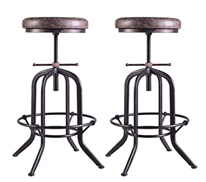 Brilliant Set Of 2 Industrial Bar Stool Adjustable Swivel Vintage Pu Leather Bar Stool Rustic Bar Stool With Cushion Cast Iron Stool Coffee Kitchen Counter Forskolin Free Trial Chair Design Images Forskolin Free Trialorg