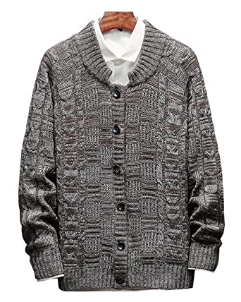 Chouyatou Mens Vintage Round Neck Button Front Cable Knit Cardigan