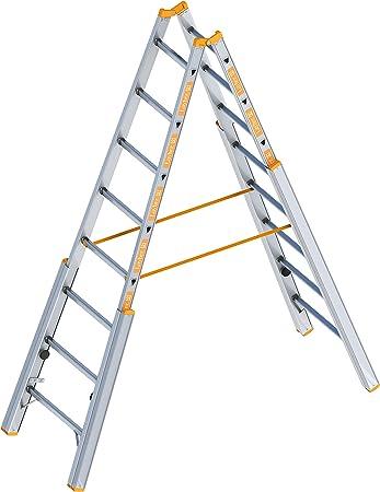 Layher 1061008 escalera paso tema aluminio escalera plegable con ajustable columnas, longitud 2,40 M: Amazon.es: Bricolaje y herramientas