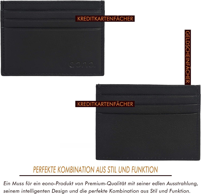 Eono by Cuero napa Vacuno Negro Tarjetero de Cuero con Compartimento para Billetes para Mujer y Hombre con dise/ño Plano y protecci/ón contra Lectura RFID