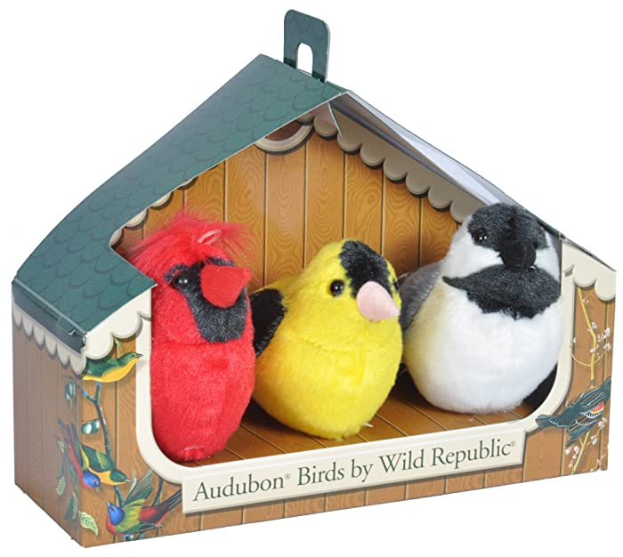 Wild Republic Audubon Birds Collection with Authentic Bird Sounds, Northern Cardinal, American Goldfinch, Chickadee, Bird Toys for Kids and Birders