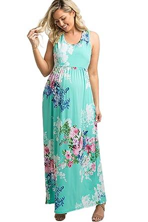 e69ff0f424dc7 PinkBlush Maternity Mint Floral Sleeveless Racerback Maxi Dress at Amazon Women s  Clothing store