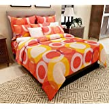 Home Candy 100% Cotton Multi Circles Double Bed Sheet with 2 Pillow Covers