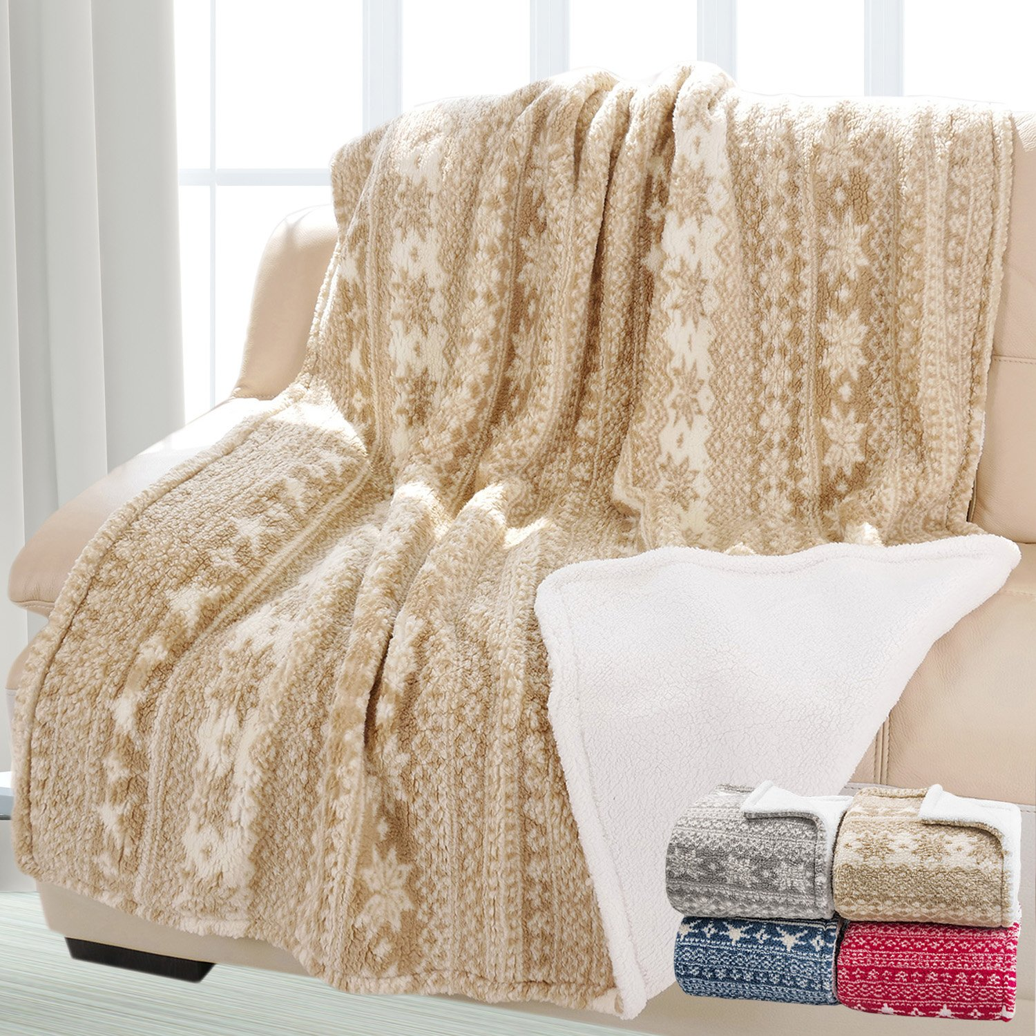 Snowflake Theme Sherpa Throw Blanket, Luxury Reversible Cozy Fleece Blanket, Warm Super Soft Comfort Caring Gift for Children and Adult, 155cm x 127cm, Beige by Catalonia