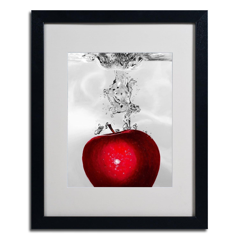 Roderick Stevens Red Apple Splash Framed Matted Canvas Art, 16 by 20-Inch, Black