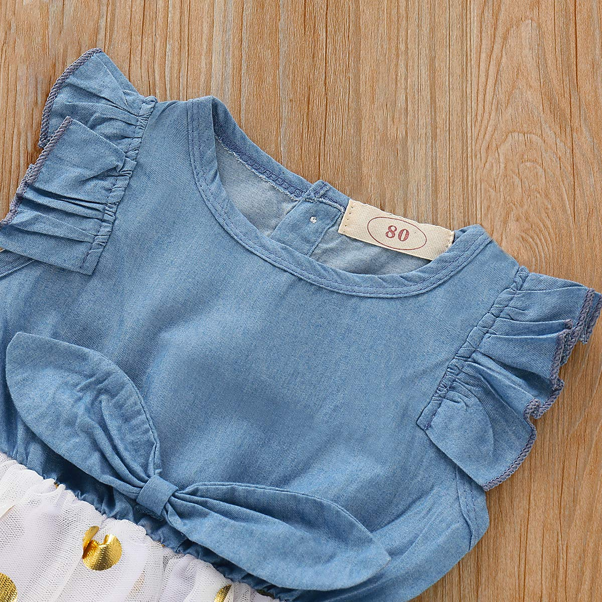 SWNONE Toddler Baby Girl Dress Ruffle Sleeve Denim Jeans White Tulle Tutu Dots Bowknot Princess Wedding Dress Skirt Outfit