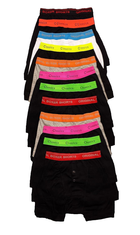 Sockstack 12 Pairs Mens Boxer Shorts Designer Black Fashion Band Underwear by