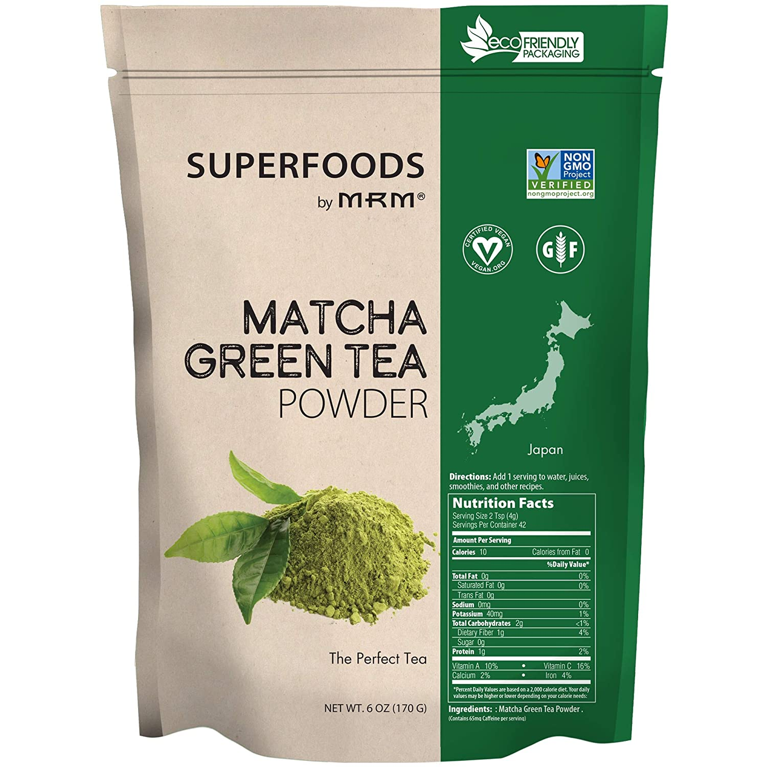 MRM - Matcha Green Tea Raw Superfood, Non-GMO Verified, Vegan and Gluten-Free (6 oz)