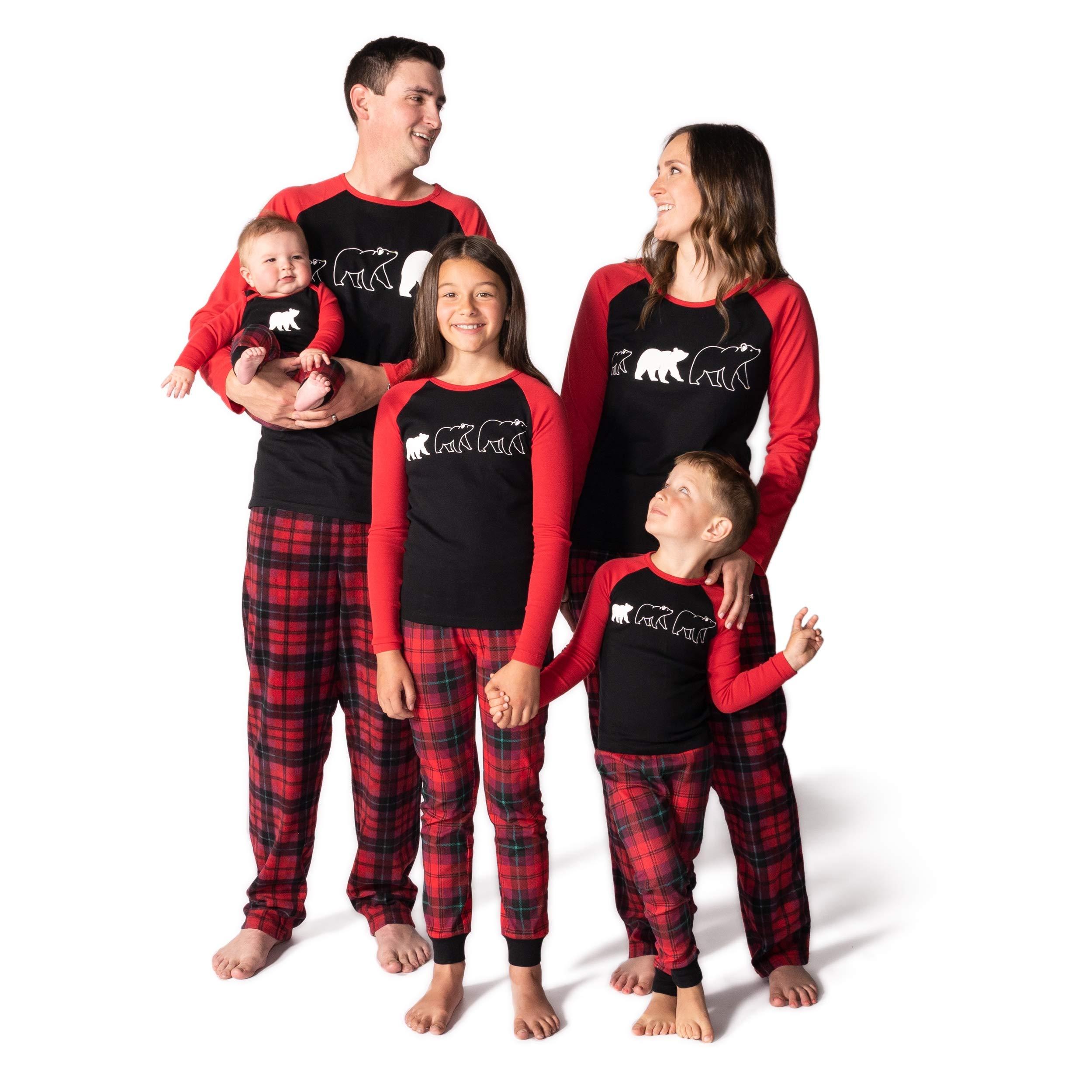 Yaffi Family Matching Christmas Striped Pajamas Set Sleepwear for Dad Mom Baby Kids