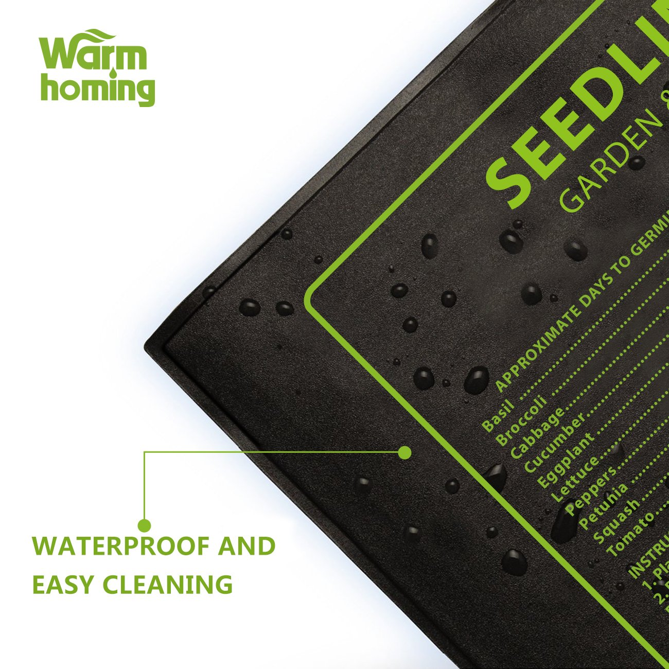 Seedling Heat Mat, Warmhoming Seed Propagating Heat Mat for Seedling, Durable Waterproof Warm Hydroponic Heating Pads (18.5'' x 8.5'') by Warmhoming (Image #3)