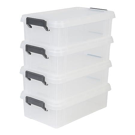 Iris Ohyama, lote 4 cajas apilables de almacenamiento con tapa ...