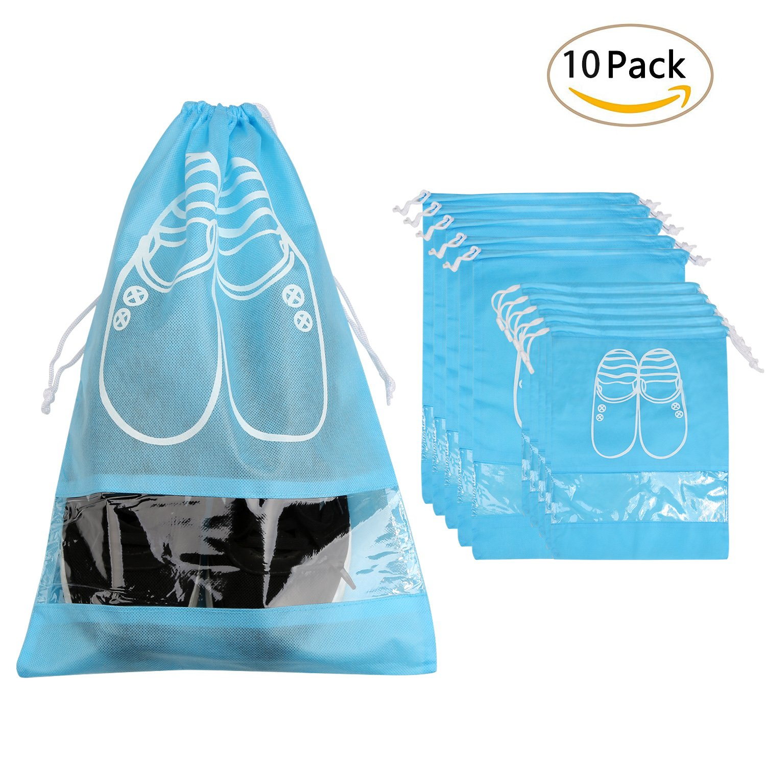 LEADSTAR Pack of 10pcs Non-woven Shoe Bags Dust,Drawstring Shoe Bags Dust-proof Breathable Organizer with Transparent Window Travel Shoe Storage Bags