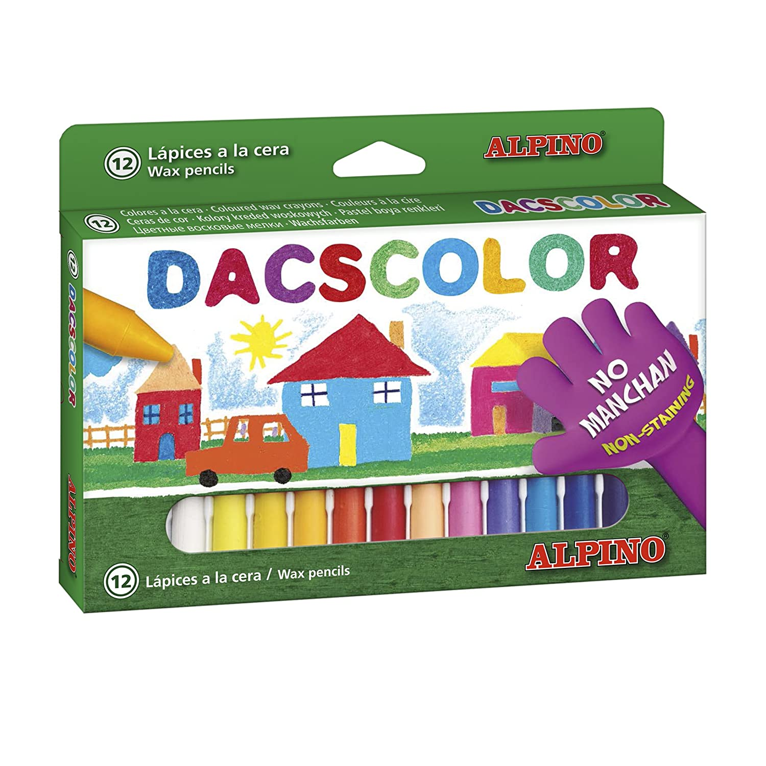 Amazon.com: ESTUCHE 12 CERAS DACSCOLOR SEMIBLANDAS: Office ...