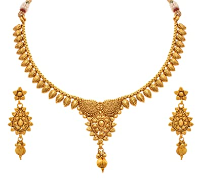 8e7ea5e229a15e Buy Jfl - Jewellery For Less Ethnic One Gram Gold Plated Necklace Set With  Earrings For Women Online at Low Prices in India | Amazon Jewellery Store  ...