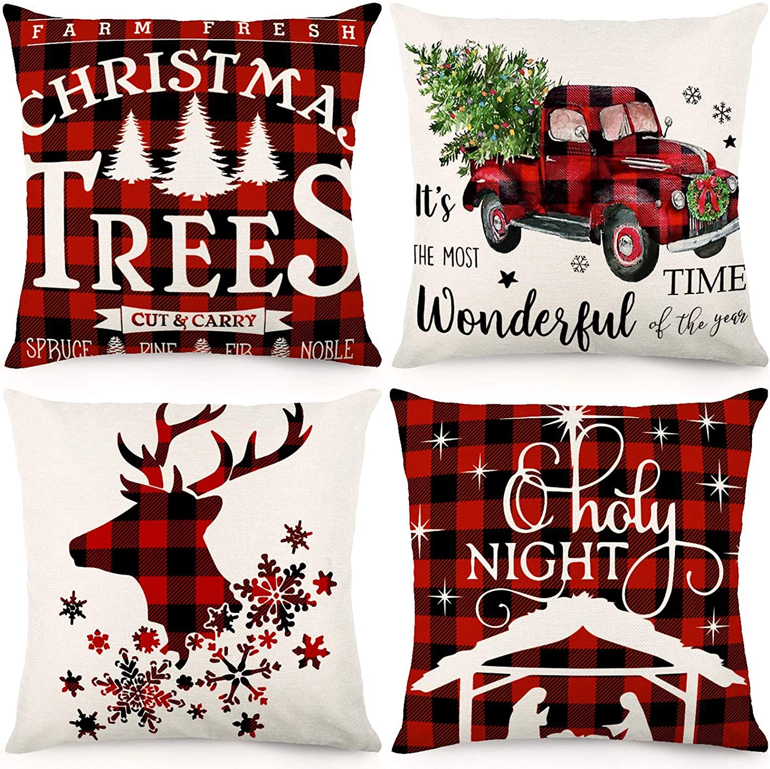 LLXX Christmas Pillow Covers 18x18 Inches Christmas Decorations Black and Red Buffalo Plaid Throw Pillowcase Farmhouse Cushion Case for Home Decor Set of 4