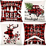 YHYH 4 Pack Christmas Pillow Covers 2020 Merry Decorative Covers Couch Cases Cotton Linen Square Cushion Throw Pillow…