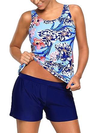 2e1a808f260 Dokotoo Womens Plus Size Fashion Amazon Beach Blouson Athletic Printed  Padded Two Piece Swim Tankini Tops
