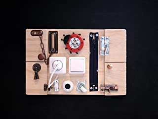 Busy Board Sensory and Activity Handmade Wooden Travel Toy for Babies and Toddlers 15 on 10 Inches