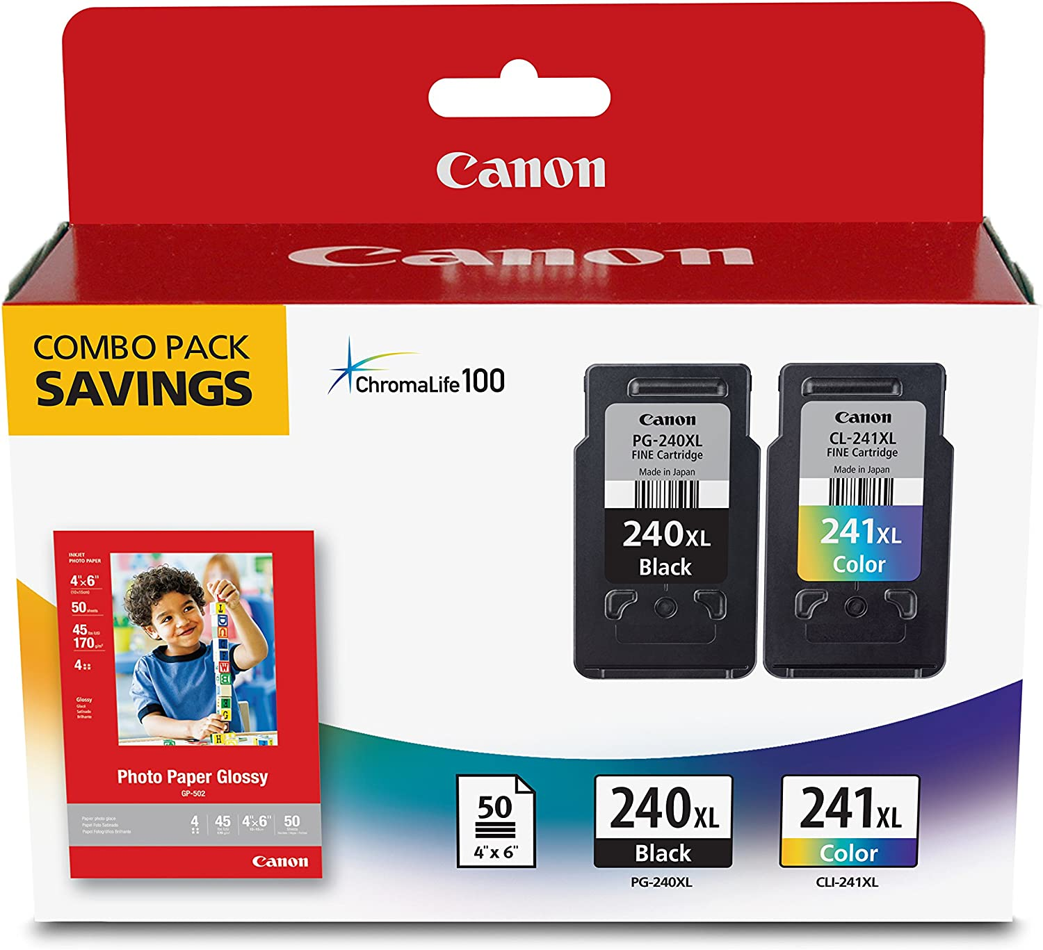 Canon PG-240XL/CL-241XL with Photo Paper 50 Sheets Compatible to MG2120, MG3120, MG4120, MX512, MX432, MX372, MX522, MX452, MX392, MG2220, MG3220, MG4220, MG3520, MG3620, TS5120