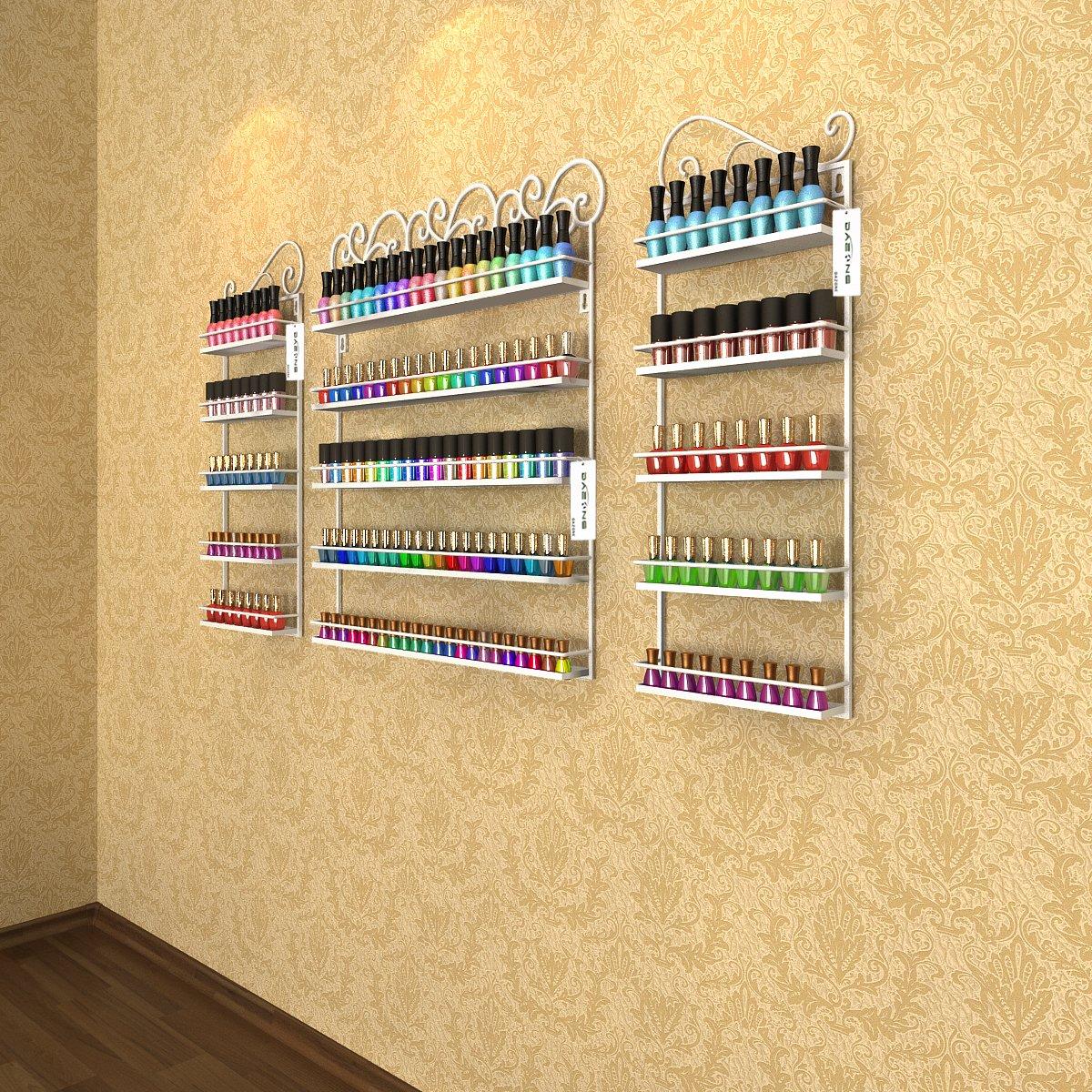 montaggio a parete pu/ò contenere pi/ù di 200 bottiglie colore: Nero in metallo si trasforma in salone di parrucchiera Dazone Espositore per smalto e oli essenziali da parete 3 in 1