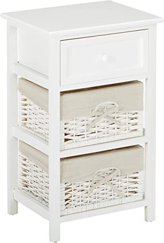 JAXPETY White Night Stand 3 Tiers 1 Drawer Bedside End Table Organizer Wood W 2 Baskets White