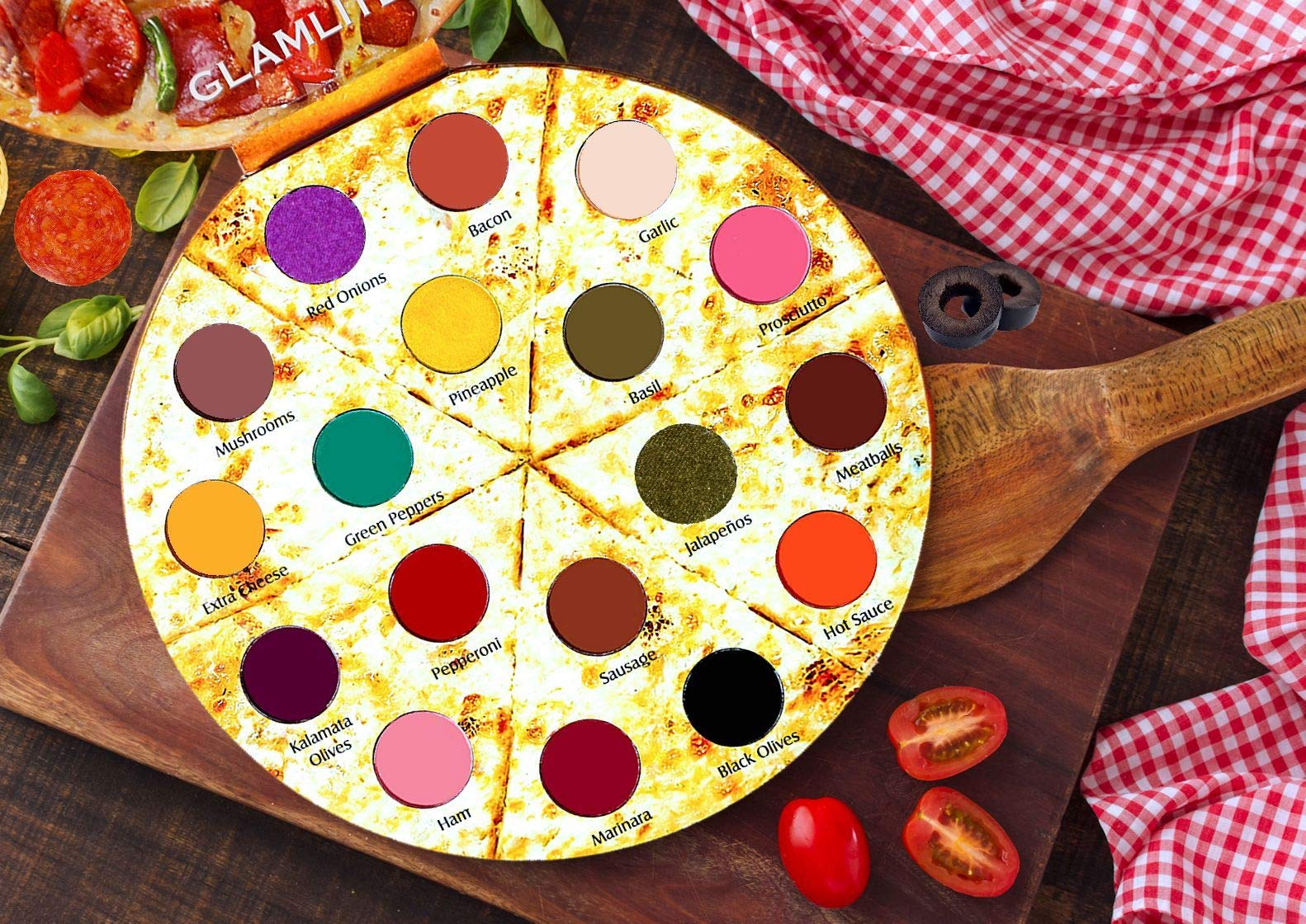 Glamlite Cosmetics Pizza Makeup Palette! 18 Shades Eyeshadow Palette with Unique Pizza Box Design! Best Gift Set!