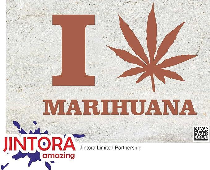 JINTORA Etiqueta para el Coche/Etiqueta engomada - Amo la Marihuana - 135x99 mm - JDM/Die Cut - Coche/Ventana/Laptop/Ventana - Violeta: Amazon.es: Coche y ...