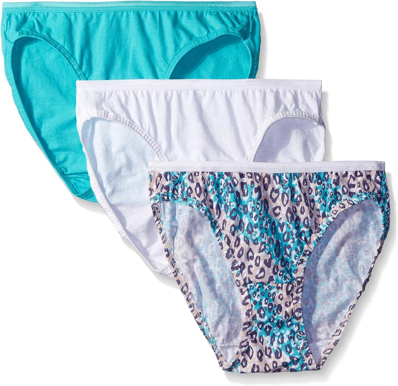 Fruit of the Loom 3-Pack Women/'s Navy Blue 100/% Cotton Bikinis Panties Size 8 XL