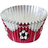 PME Red Football Foil Lined Baking Cases for Cupcakes, Standard Size with Deeper Fill, Pack of 30