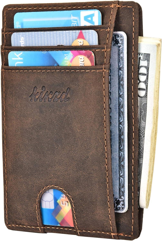 Kinzd Slim Minimalist Leather RFID Front Pocket Wallet Thin Credit Card Holder Men