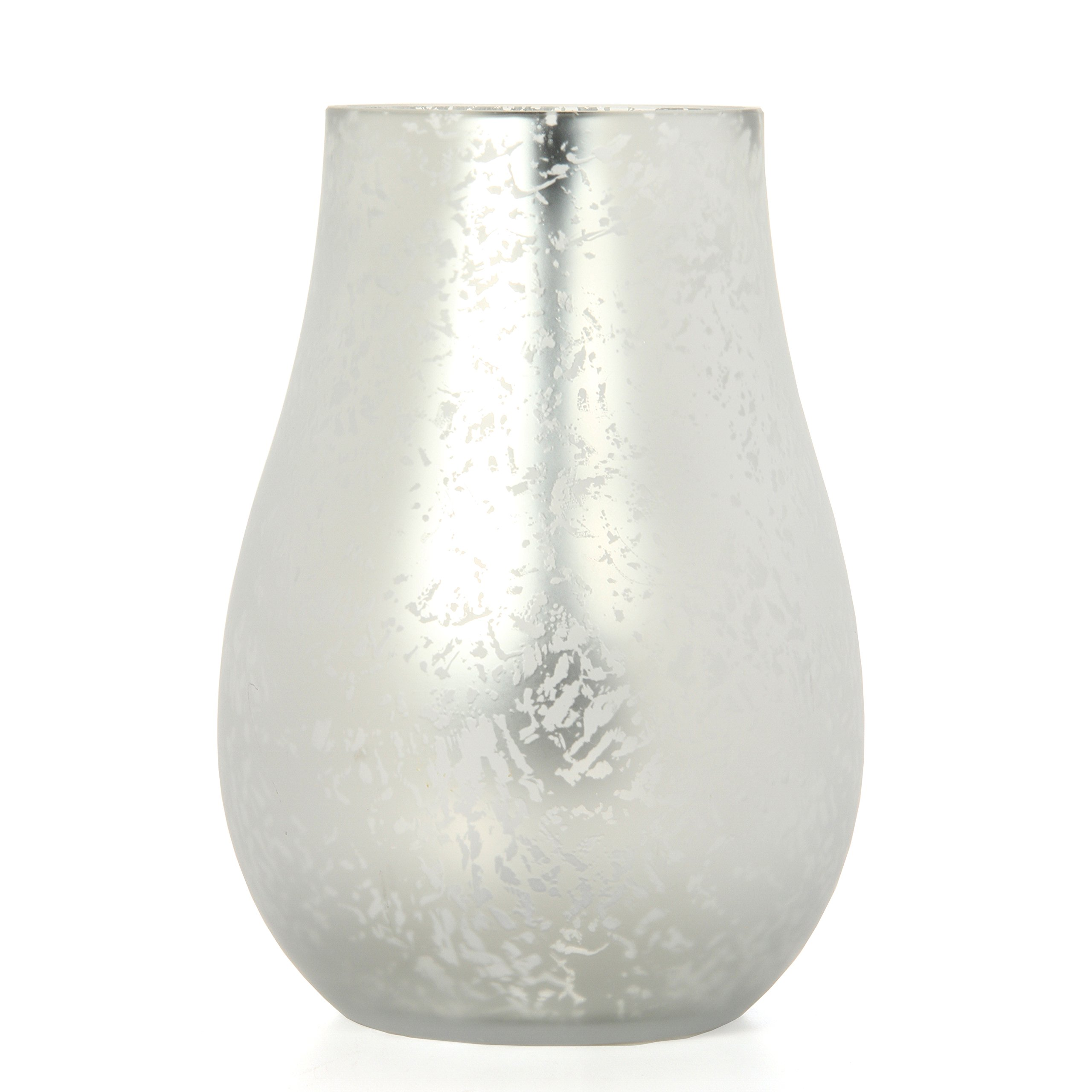 Hosley Silver Frosted Glass Floral Vase Lantern 8'' High. Ideal Gift for Weddings, Bridal, Spa, Meditation, Reiki, Rose Vase, Nautical Settings, Storage LED Candle Votive Garden P2