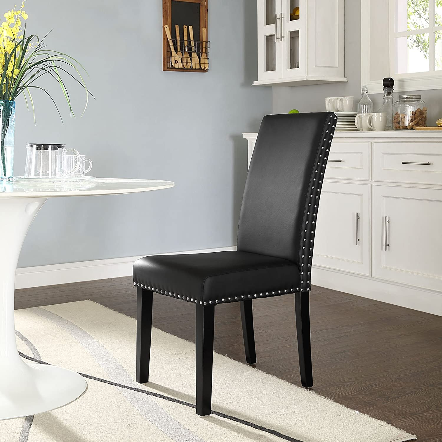 Amazon Modway Parcel Dining Vinyl Side Chair Black Chairs